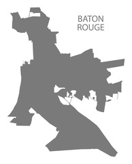 Baton Rouge Louisiana city map grey illustration silhouette