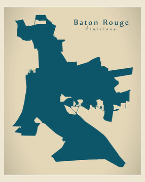 Modern City Map - Baton Rouge Louisiana city of the USA