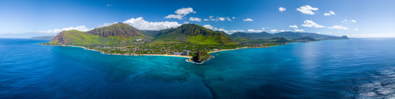 Aerial panorama of the west coast of Oahu near Makaha Valley, Hawaii
