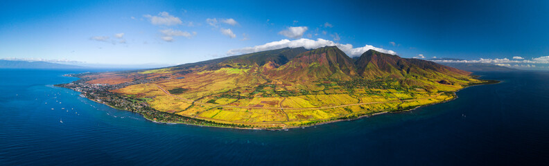 Wall Mural - Aerial panorama of the west coast of Maui near the town of Lahaina, Hawaii, USA
