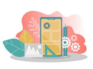 Mobile application development - flat vector illustration. Mobile app building