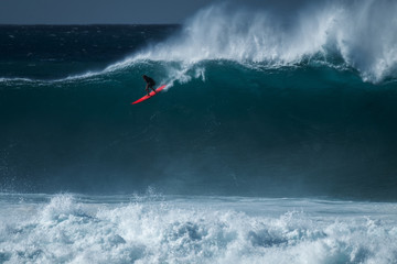 Wall Mural - Extreme surfer rides gigantic ocean wave at Waimea Bay surf spot. The North Shore of Oahu, Hawaii