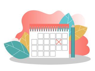 Schedule management, Business Planning Landing Page Template. Calendar Concept