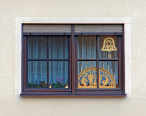 Christmas decorated house window, Germany