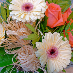 pale white gerber and one orange rose flowers bouquet closeup