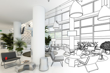 Contemporary Waiting Lounge (sketch) - 3d visualization
