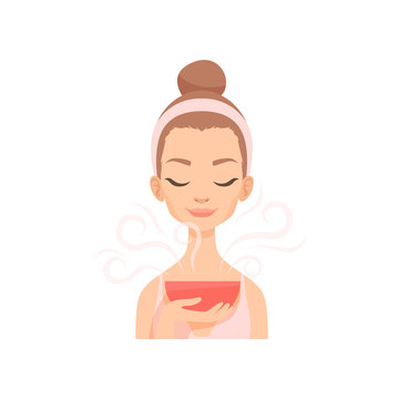 Attractive young woman caring for her face with steam, facial treatment procedure vector Illustration