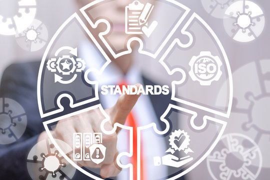 Standards compliant check business concept. Quality assurance and control technology system. ISO.