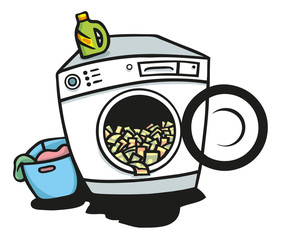 Waschmaschine voller Geldscheine zur Geldwäsche