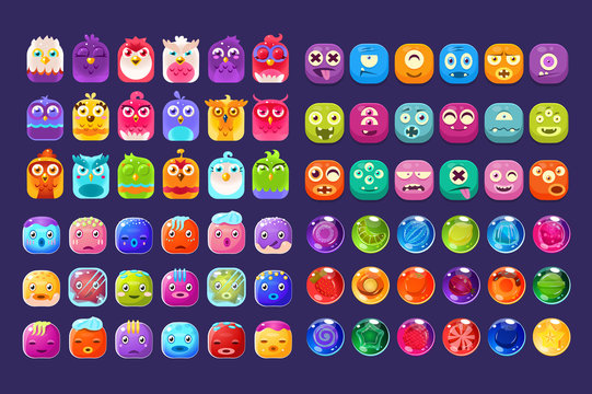 Collection of colorful glossy figures of different shapes, user interface assets for mobile apps or video games vector Illustration