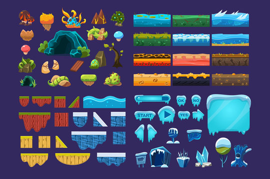 Collection of summer and winter fantasy landscape elements, user interface assets for mobile apps or video games vector Illustration