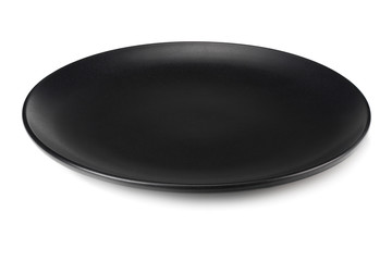 empty black round plate isolated on a white background