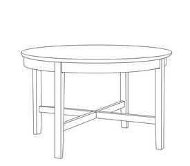 vector isolated round contour table