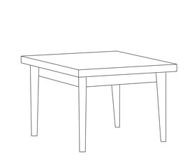 vector isolated table contour