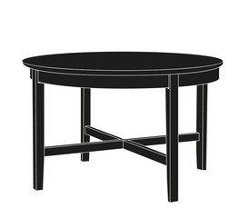 vector isolated silhouette round table