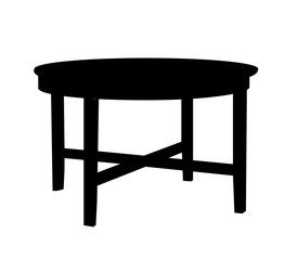 isolated black silhouette table, icon