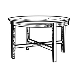 sketch of a table on a white background