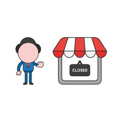Vector businessman character make hand stop sign with shop store and closed written on hanging sign. Color and black outlines.