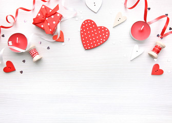 Valentine's day background,red hearts on white.