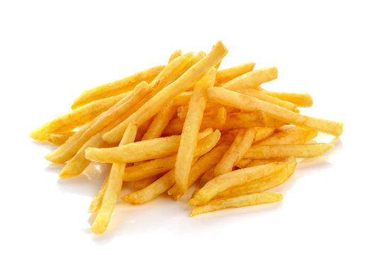 pile of french fries on a white background