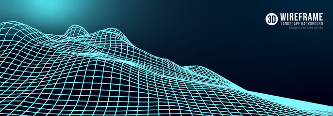 Abstract wireframe landscape background. Cyberspace neon blue grid. 3d technology vector illustration.