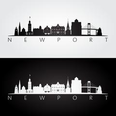 Newport USA skyline and landmarks silhouette, black and white design, vector illustration.