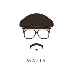 Mafioso portrait isolated on white background. Vector illustration.