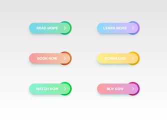 Colorful button set for websites or online usage, vector illustration