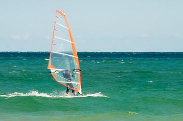 windsurfing on the sea