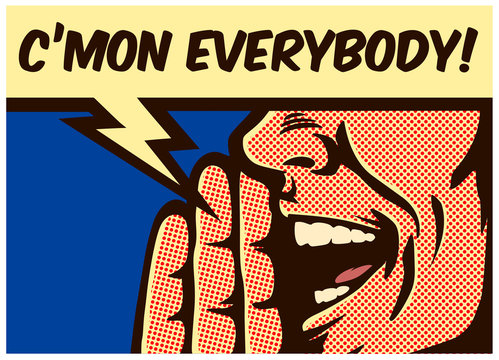 Pop Art style vintage comic book panel man calling and yelling out loud with speech bubble, call to action concept vector illustration