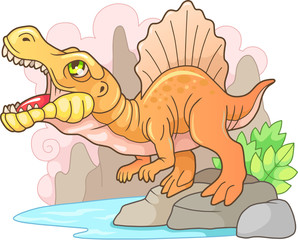 Cartoon prehistoric predatory dinosaur Spinosaurus, funny illustration