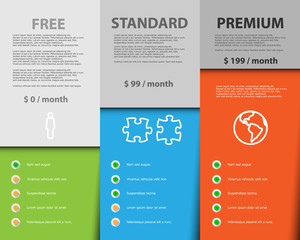 Offer of three price categories products and services. Vector illustration cards. - Vektor