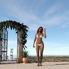 Woman in a swimsuit waving at a seaside patio.