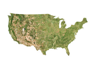 Satellite image of USA with white borders (Isolated imagery of USA. Elements of this image furnished by NASA)