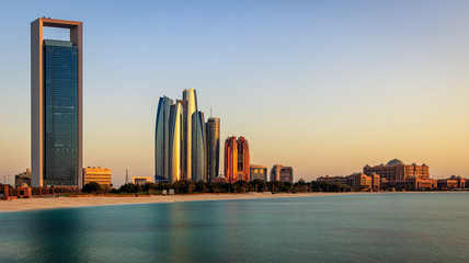 View of Abu Dhabi Skyline during Sunset.