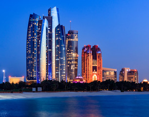 View of Abu Dhabi Skyline during Blue Hour.