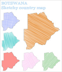 Botswana sketchy country. Comely hand drawn country. Cool childish style Botswana vector illustration.