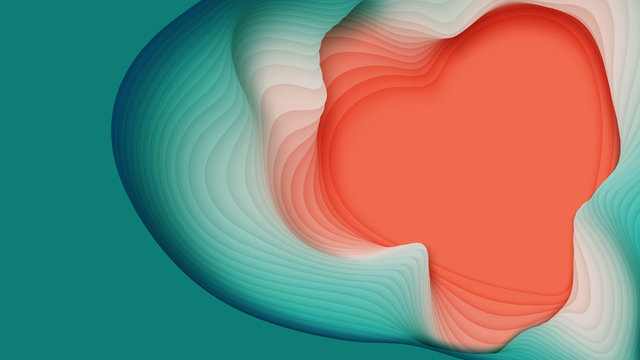 Vector 3D abstract background with paper cut heart shape. Colorful carving art. Paper craft heart for Valentine's Day. Minimalistic design for love cards, posters etc.