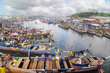 Elmina fishing fleet in Ghana