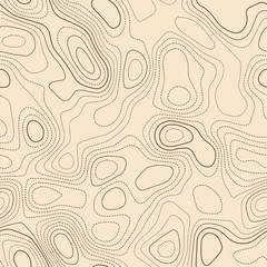 Topographic map. Actual topographic map. Seamless design, divine tileable isolines pattern. Vector illustration.
