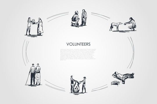 Volunteers - girls and boys helping elderly and homeless people and children, dogs, donating blood and collecting garbage vector concept set
