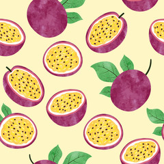 Seamless watercolor passion fruit pattern. Vector fruit background.
