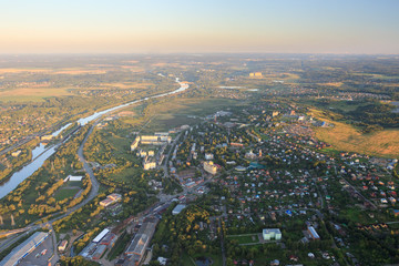 Dmitrovsky District, Moscow Region, Russia. Balloon flight over the city and the river