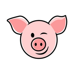 Wonderful design of pink pig on a white background