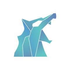 blue wolf side polygon logo template