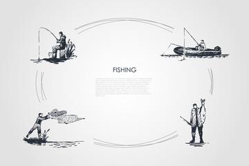 Fishing - fisherman casting net, fishing rod, catching fish, sitting on boat vector concept set