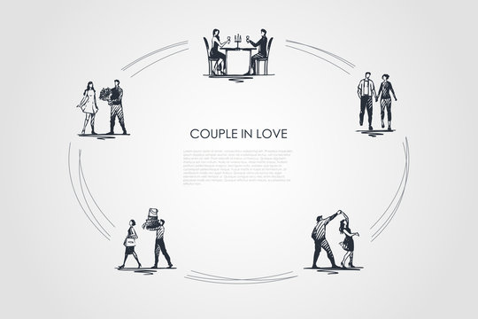 Couple in love - couples having dinner in restaurant, walking hand by hand, dancing, man helping woman to carry things, giving flowers vector concept set