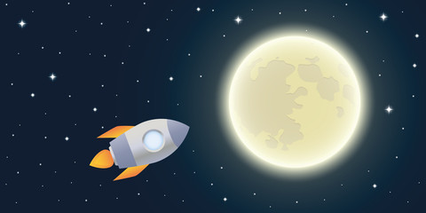 rocket is flying to the moon starry sky vector illustration EPS10