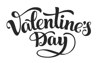 Valentines Day. Hand-drawn lettring isolated on white background