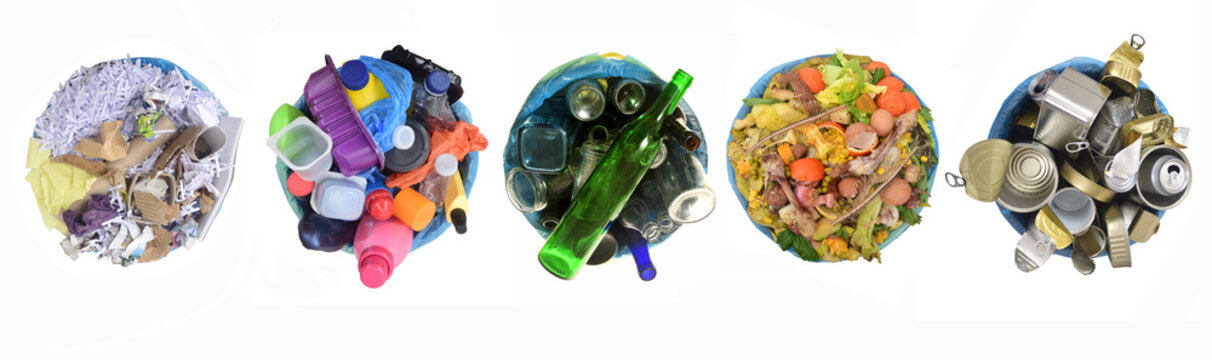 recycle of cans,compost,glass, plastic and paper